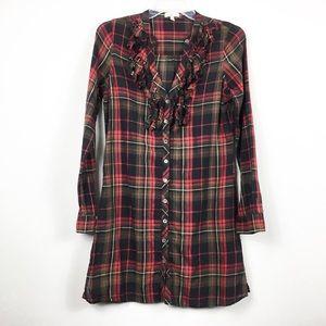 Joie Ruffle Plaid Tunic Shirt Dress Semi Sheer